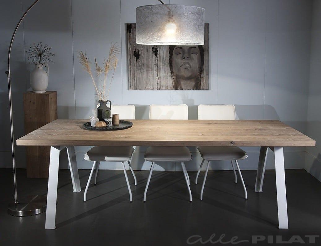 Wit Eiken Tafel : Industriële tafel stoarm van massief eiken met wit frame alle pilat