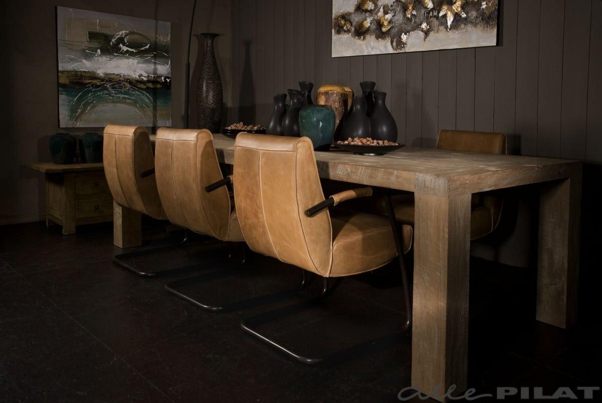 Stoer Industriele Eetkamerstoelen : Eetkamerstoel howard jess design in stoer leer woonwinkel alle pilat