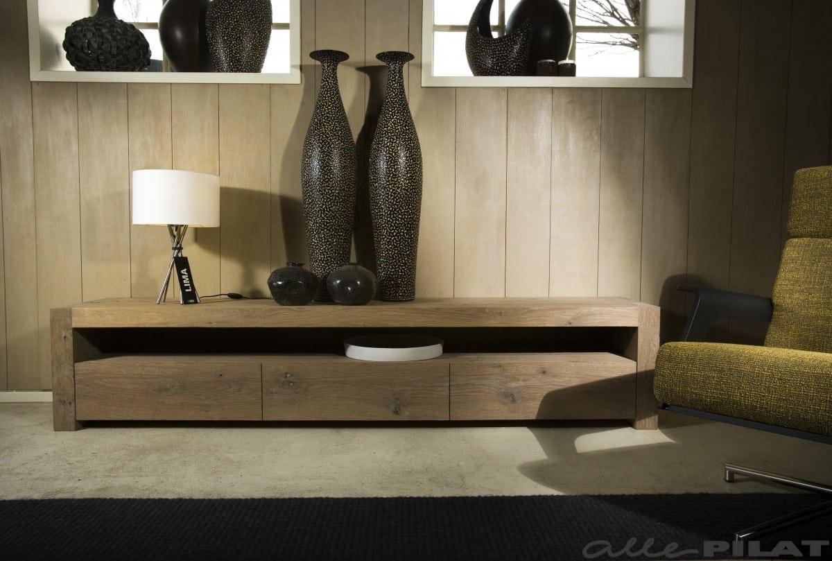 Gerookt Eiken Meubels : Eiken tv meubel sjoch met laden en een open vak alle pilat