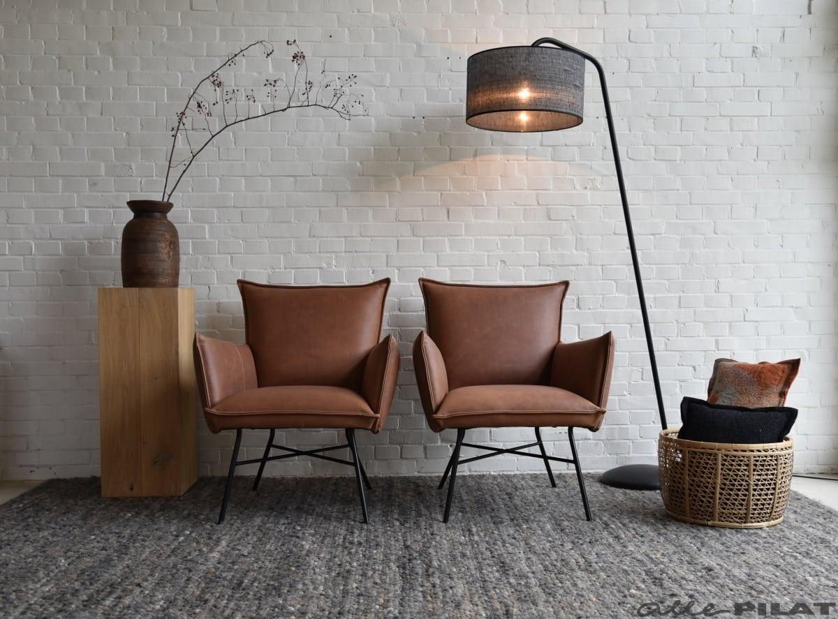 Cognac Leren Stoel : Leren fauteuil micasa in stoer cognac leer en met zwarte poten