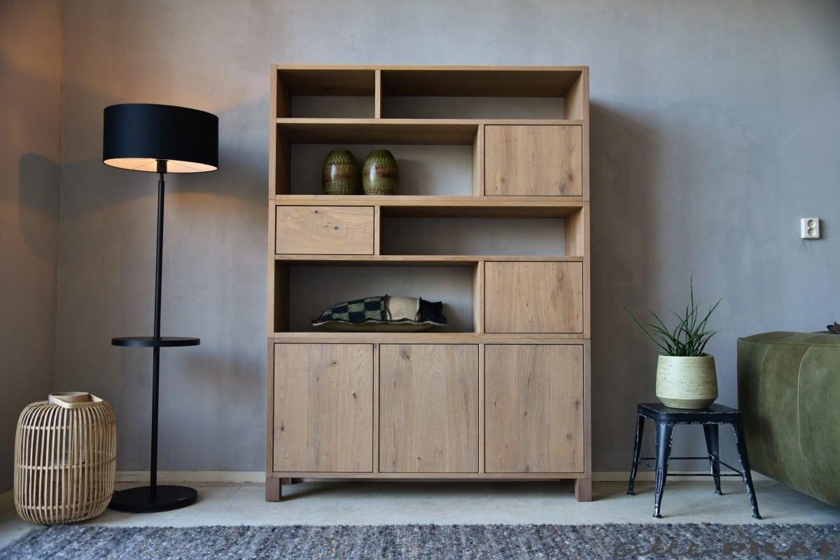 Design Hoge Kast : Hoge eiken kast stapel 2 met deuren en laden woonwinkel alle pilat