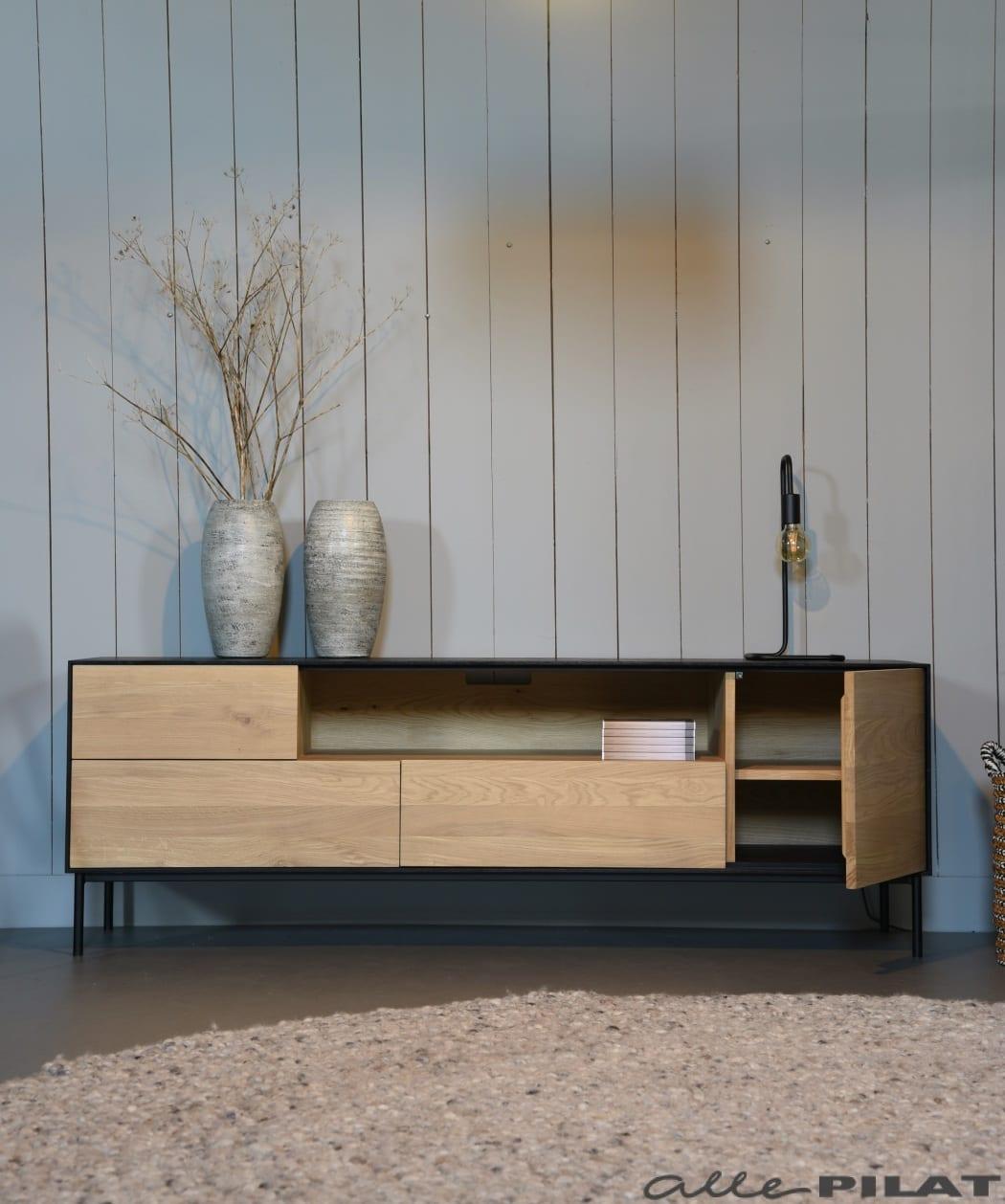 Foto Eiken tv-meubel Swart