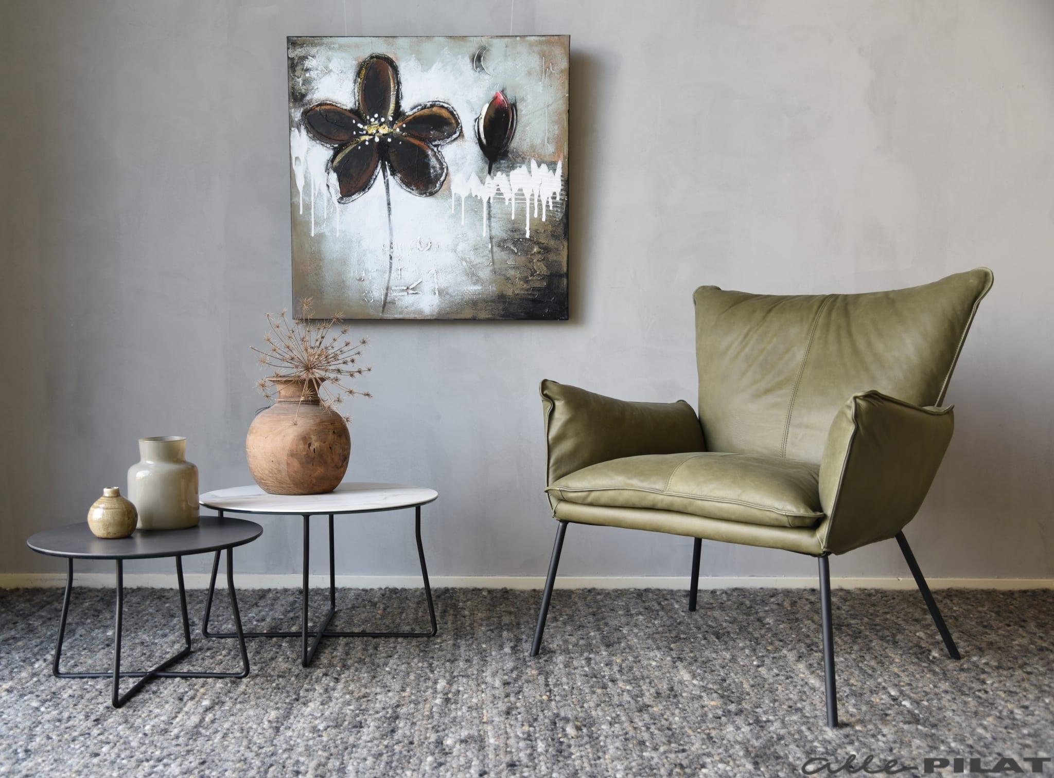 Fauteuil guus in stoer olijfgroen leer woonwinkel alle pilat